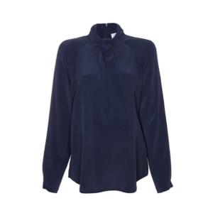 Business Look: dunkelblaue Bluse