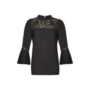 Feierliche Look: schwarze Bluse mit Spitze