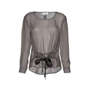 Feierliche Look: teil transparente Muster Bluse mit Schleife