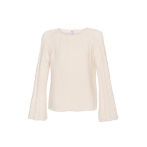 Pullover mit Glockenärmel Weiß