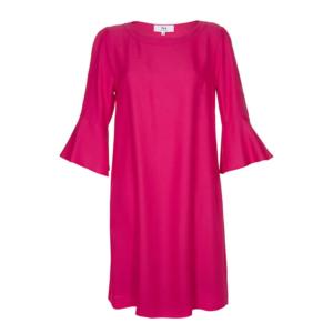 Stop the Blues Look: magenta Kleid mit Volants am Abschluss